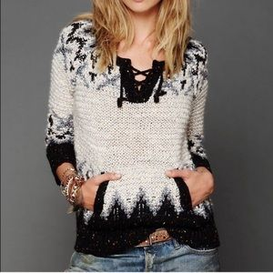 NWT FREE PEOPLE | Love Bug Nordic Lace Up Sweater